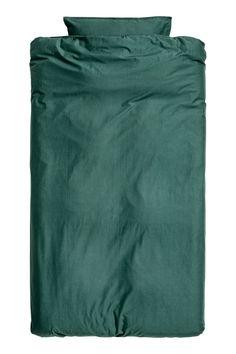Påslakanset i tvättad bomull - Mörkgrön - | H&M SE 1
