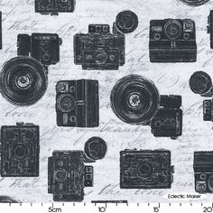 Sundance Graphics Objects Cameras in Grey Sundance Graphics Objects Cameras in Grey Robert Kaufman fabric for patchwork quilting and dressmaking from Eclectic Maker [AUD-13916-12] : Patchwork, quilting and dressmaking fabric, patterns, habberdashery and notions from Eclectic Maker