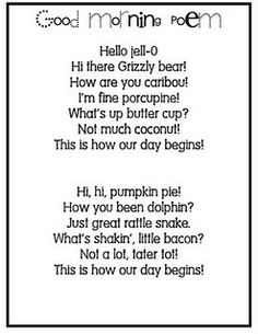 Fun little rhymes to wake the kids up with at nap time