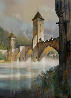 pont valentré - cahors, france by Thomas W. Schaller Watercolor ~ 30 inches x 22 inches Watercolor City, Watercolor Artists, Watercolor Landscape, Watercolour Painting, Landscape Art, Watercolours, Watercolor Architecture, Art And Architecture, Art Thomas