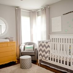 Check out our yellow, mint, grey, and chevron gender neutral nursery we created for our little one!