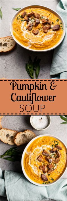 This pumpkin and cauliflower soup with ginger is a healthy way to get your pumpkin fix this autumn! This soup is thick, hearty, and comforting.
