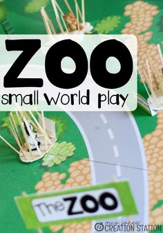 Zoo Small World Imaginative Play is a wonderful way for hands on learning with your little ones. Use some play dough, wooden coffee stirrers, animals, signs and guests to create this wonderful, interactive play learning experience about the zoo. #zoo #zootheme #handsonlearning #playdough #woodencoffeestirrers #animals #smallworldplay #mrsjonescreationstation