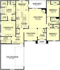 Country Style House Plan - 3 Beds 2 Baths 1952 Sq/Ft Plan #430-72 Floor Plan - Main Floor Plan - Houseplans.com