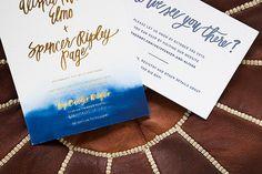 Indigo Watercolor and Gold Foil Wedding Invitations