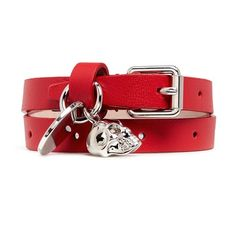 Alexander McQueen Skull charm double wrap leather bracelet ($180) ❤ liked on Polyvore featuring jewelry, bracelets, red, skull charms, leather bangles, skull jewellery, swarovski crystal charms and skull wrap bracelet