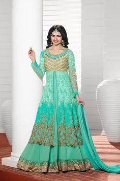 Attractive , prachi desai long kurti /anarkali style outfit in mint georgette. #prachidesai #prachidesaicollection #prachidesaisuits #prachidesaidresscollection #prachidesaidresses #bollywoodcelebs #kaseeshonline #kaseesh #shopnow