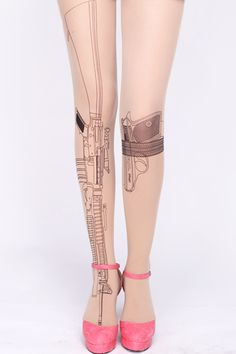 Gun print tights. Awesome!  NO, NOT AWESOME........I don't need violent tights.....Seriously, who wears these?