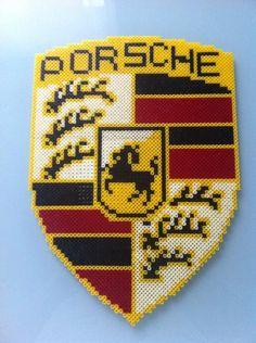 Porsche logo hama perler beads by Vanessa Yusta