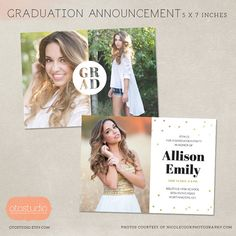 Senior Graduation Announcement Template for Photographers PSD Flat card - Grad Cutout CG023