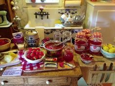 My strawberry Jams displayed in Kathleen Holmes' dollhouse kitchen - Nina Eary