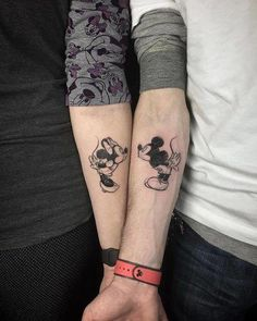 Minnie and mickey couple goals. mickey and minnie tattoos, matching disney tattoos, disney Matching Disney Tattoos, Disney Couple Tattoos, Best Couple Tattoos, Disney Couples, Mickey Tattoo, Mickey And Minnie Tattoos, Him And Her Tattoos, Tattoos For Guys, Tattoos For Women