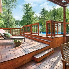 Enhance your outdoor space with design ideas for patios, decks, gardens, outdoor kitchens and bars with stunning pictures. Above Ground Pool Decks, Above Ground Swimming Pools, Swimming Pools Backyard, In Ground Pools, Pool Landscaping, Swimming Holes, Patio Plan, Pool Deck Plans, Backyard Patio