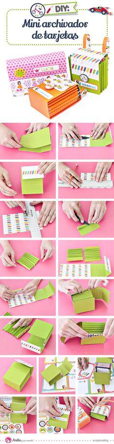 Aprende a realizar un divertido mini archivador de tarjetas scrap con este nuevo vídeo tutorial de Anita y su mundo scrapbooking.