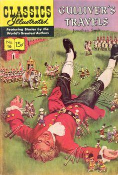 Gulliver's Travels HRN 155 - New Cover Art Gilberton Comic Book Classic Comics/Classics Illustrated 16 I Old Comics, Vintage Comics, Vintage Books, Vintage Ads, Old Comic Books, Comic Book Covers, Caricatures, Gulliver's Travels, Film D'animation