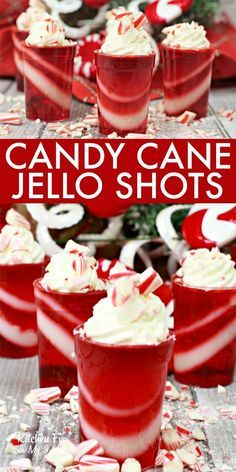 These Candy Cane Jello Shots are a fun adults only recipe made with Vanilla Vodka, Peppermint Schnapps and of course, crushed candy canes. Drinks Make Candy Cane Jello Shots for Adults This Christmas Christmas Jello Shots, Best Christmas Cocktails, Christmas Drinks Alcohol, Christmas Party Food, Holiday Drinks, Holiday Recipes, Christmas Candy, Christmas Makeup, Christmas Cooking