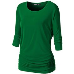 Doublju Green Dolman Tunic ($15) ❤ liked on Polyvore featuring tops, tunics, rayon tops, green tunic, 3/4 sleeve dolman top, ruched top and viscose top