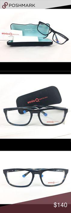 NEW Etnia Barcelona Brampton Frame New Etnia Barcelona Brampton frame comes in color black and blue. Italian made in lens size: 56, bridge: 19, and temple length: 145. Rectangle shape. Comes with Case and cloth cleaner Etnia Barcelona Accessories Glasses