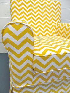 IKEA Jennylund Custom Slipcover in Yellow Chevron by FreshKnesting, $175.00 ~Awesome~