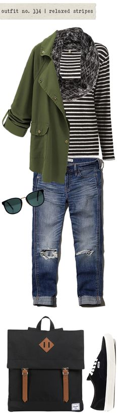 outfit no. 334   relaxed stripes, great layers for travel and the best of scout packs.