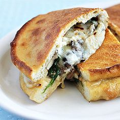 Three-Cheese Mushroom and Spinach Calzone FOUR OF MY FAVORITE TYPES OF INGRIDENTS.