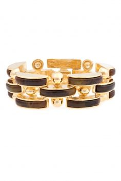 Braque Resin Link Bracelet:  Tortoise Resin,   14K Gold Plating,  Snap Hook Clasp Closure. $215
