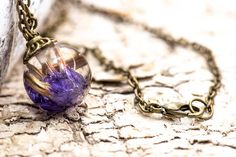 Bronze, Kugel, Christmas Bulbs, Pendant Necklace, Etsy, Holiday Decor, Jewelry, Real Flowers, Resin