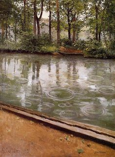 Gustave Caillebotte  [FrenchImpressionistPainter, 1848-1894]  The Yerres, Rain(also known as Riverbank in the Rain), 1875  oil on canvas    Indiana University Art Museum(United States)