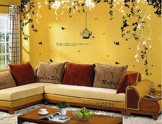 Abstract Flowers with Birdswall decal branch with by NatureStyle, $72.00