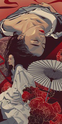 Artwork by Edz Gatdula Aesthetic Art, Aesthetic Anime, Art Sketches, Art Drawings, Art Et Design, Japanese Artwork, Japon Illustration, Samurai Art, Japan Art