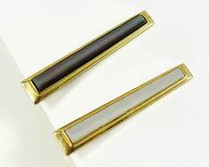 Vintage 50/'s mid century brass mother of pearl tie tack tie bar