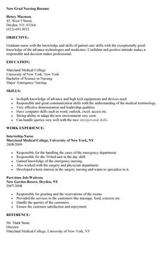 Nursing Skills For Resume New Registered Nurse Resume Sample  Sample Of New Grad Nursing