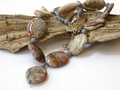 Gray Necklace, Agate Necklace, Fall Necklace, Handmade Necklace, Gemstone…