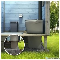 Outdoor Toilet, Woodland House, Wie Macht Man, Toilet Design, Flat Roof, Play Houses, Tree Houses, Outdoor Furniture, Outdoor Decor