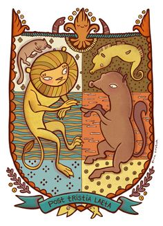 Heraldry - Erica Sirotich Illustration. Example of motto placement.