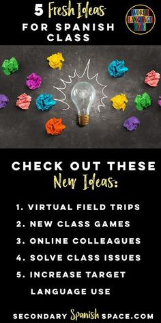5 AWESOME new ideas to test out this year in Spanish class from Sherry from http://SecondarySpanishSpace.com.