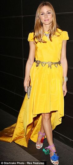 Olivia Palermo in her bright yellow Katie Ermilio dress and metallic belt from Zara @ A Fools Fete 10th Annual Spring Dinner Dance