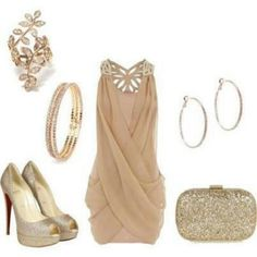 Nude Glitter, Glimmer, Shimmer and Shine. Best worn at cocktail parties or other semi-formal occasions. Love the color palette. Love everything - the short cut-out work dress, peep-toe pumps, gold clutch and the lovely accessories.