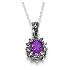 Noble Small Oval Amethyst Marcasite Sterling Silver Pendant ($56) ❤ liked on Polyvore featuring jewelry, pendants, marcasite jewelry, oval pendant, charm pendant, sterling silver amethyst jewelry and marcasite jewellery