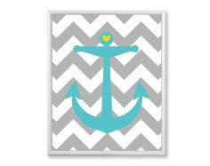 Nautical Nursery Decor, Anchor Love with Heart, Chevron, 11x14 Kids Wall Art - Teal Aqua Yellow Grey Ocean Theme