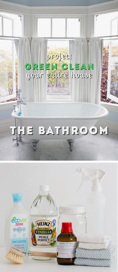 How to Green Clean Your Bathroom - excellent green cleaning recipes here but what I REALLY love is the step-by-step action plan to get the bathroom clean FAST!