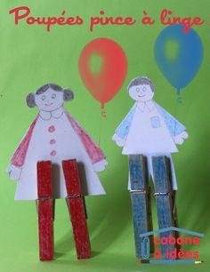 poupées de papier avec des pinces à linge