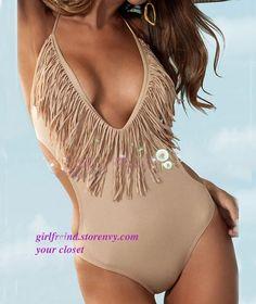 Deep V tassel champagne sexy swimsuit bikini #coniefox #2016prom