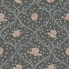 Tulippa by Boråstapeter - Dark Green and Pink - Wallpaper : Wallpaper Direct Motif Design, Textile Design, Wall Colors, House Colors, Colours, Grey Floral Wallpaper, Scandi Wallpaper, Casamance, Motif Floral