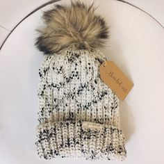 Faux fur knit beanie Last one Three Bird Nest Accessories Hats