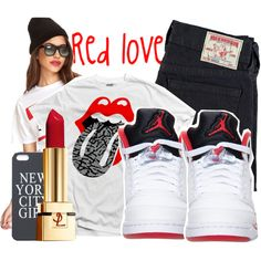 Red love, created by shownoloveee on Polyvore