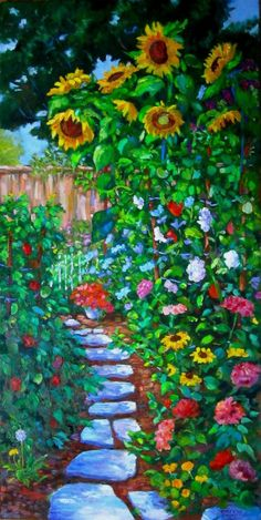 """Summer in the Garden"" 18x16"" oil on canva"
