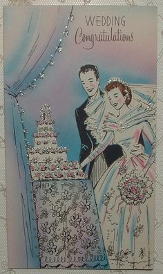 Vintage Greeting Card Wedding Couple Cake Bride Groom Flowers in Collectibles, Paper, Vintage Greeting Cards, Other Vintage Greeting Cards 1940s Wedding, Vintage Wedding Photos, Vintage Wedding Invitations, Vintage Bridal, Vintage Weddings, Wedding Wishes Quotes, Wedding Greetings, Wishing Well Wedding, Wedding Cards