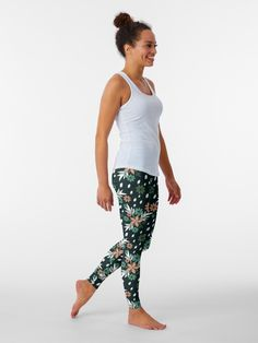 """""""Autumn Bouquet, Green Beige and White floral pattern"""" Leggings by floraaplus   Redbubble"""