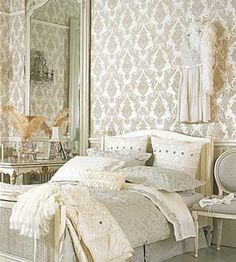 Rococo bedroom.  I want a feature wall in my bedroom like this one.